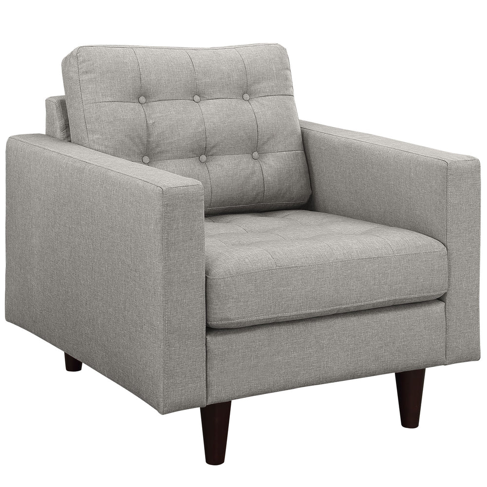 Empress Upholstered Fabric Armchair in Light Gray by Modway