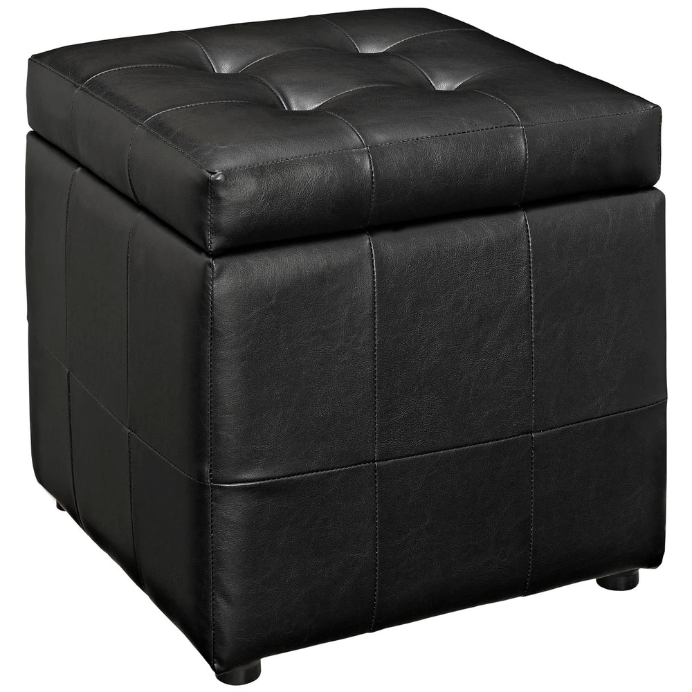 Volt Storage Upholstered Vinyl Ottoman in Black by Modway