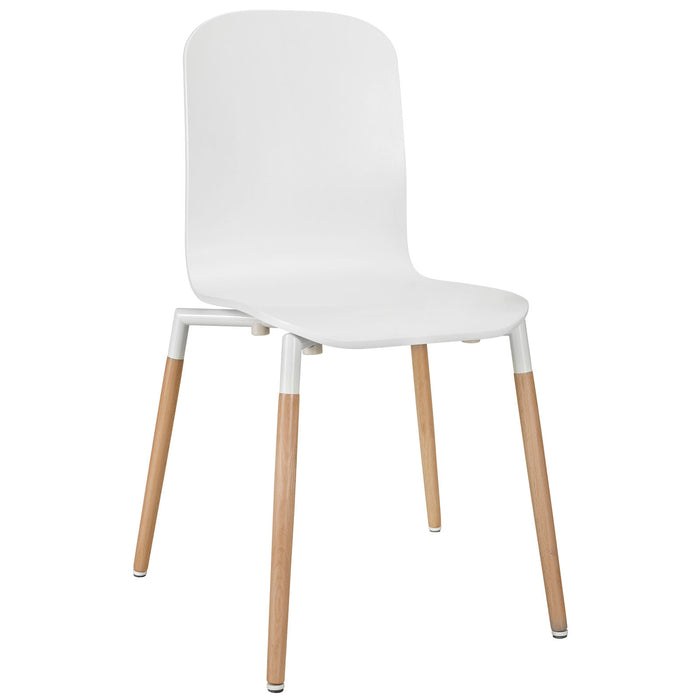 Stack Dining Wood Side Chair in White by Modway