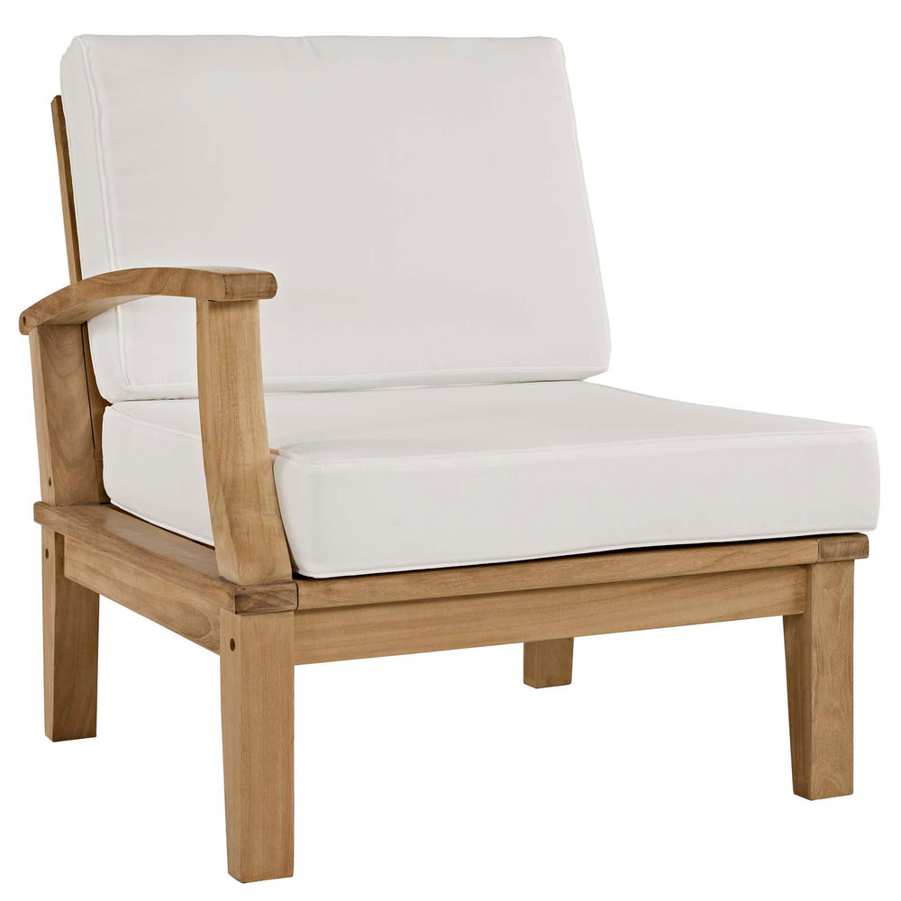 Marina Outdoor Patio Teak Left-Facing Sofa in Natural White by Modway