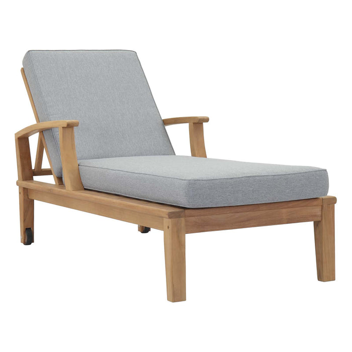 Marina Outdoor Patio Teak Single Chaise in Natural Gray by Modway