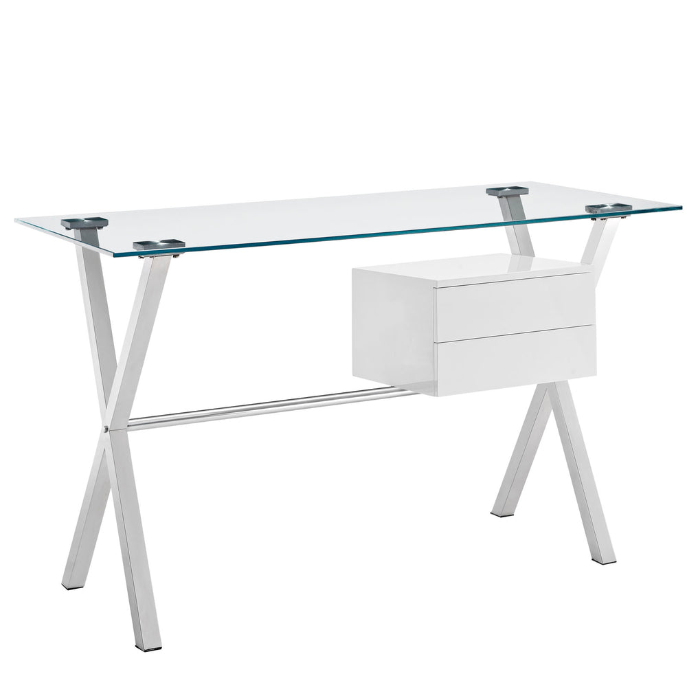 Stasis Glass Top Office Desk in White by Modway