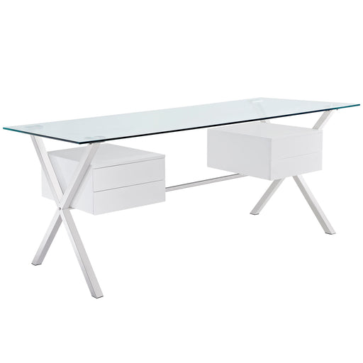 Abeyance Glass Top Office Desk in White by Modway