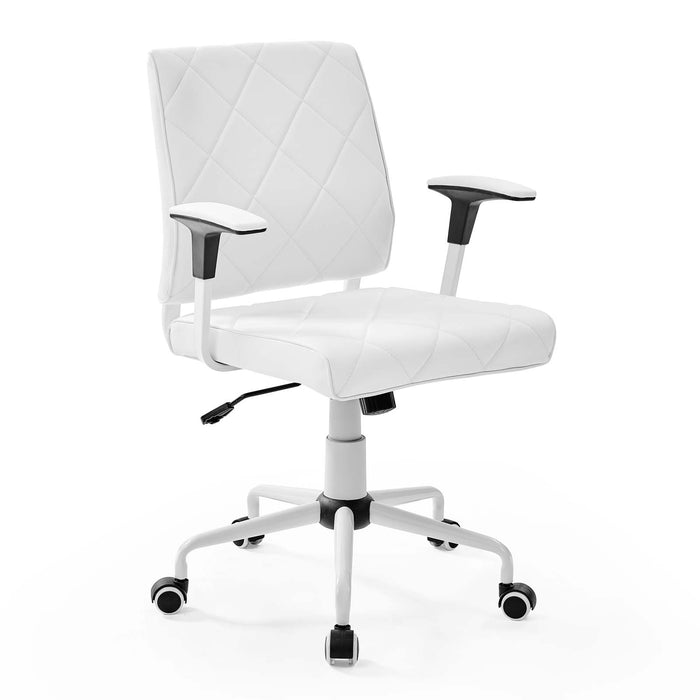 Lattice Vinyl Office Chair in White by Modway