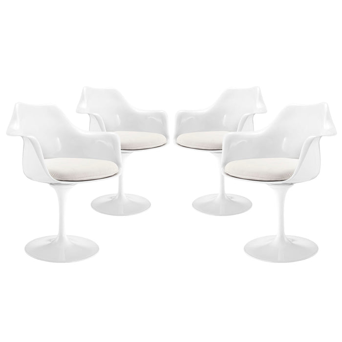 Lippa Dining Armchair Set of 4 in White by Modway
