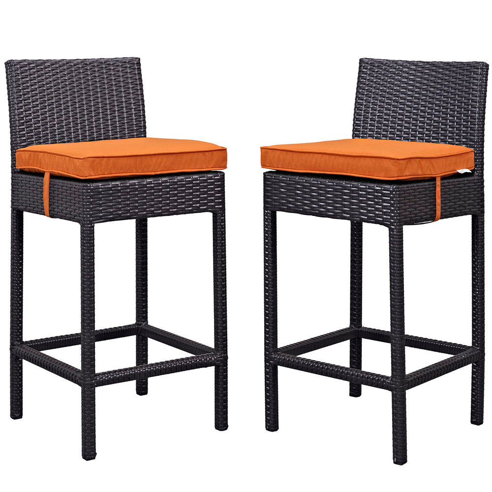 Lift Bar Stool Outdoor Patio Set of 2 in Espresso Orange by Modway