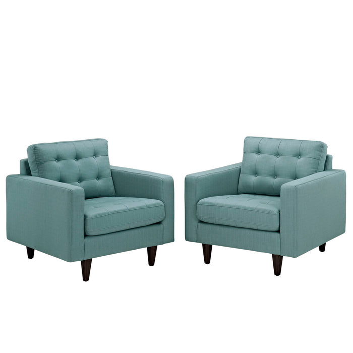 Empress Armchair Upholstered Fabric Set of 2 in Laguna by Modway