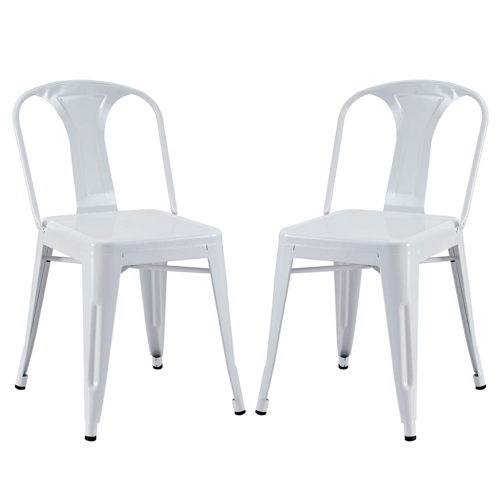 Reception Dining Side Chair Set of 2 in White by Modway
