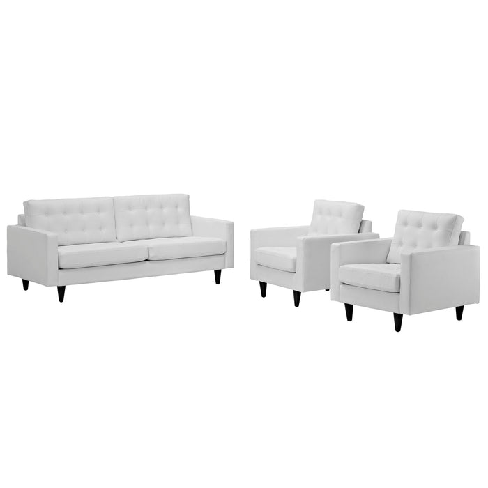 Empress Sofa and Armchairs Set of 3 in White by Modway