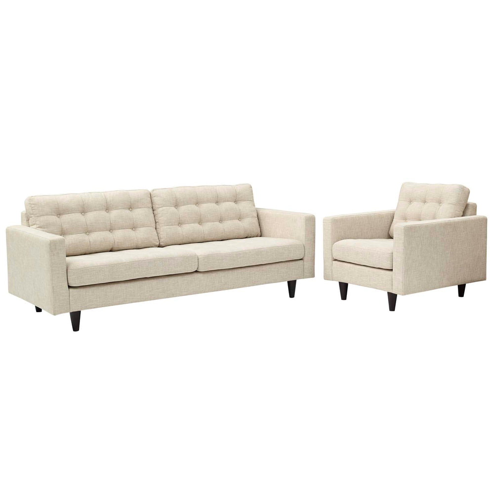 Empress Armchair and Sofa Set of 2 in Beige by Modway