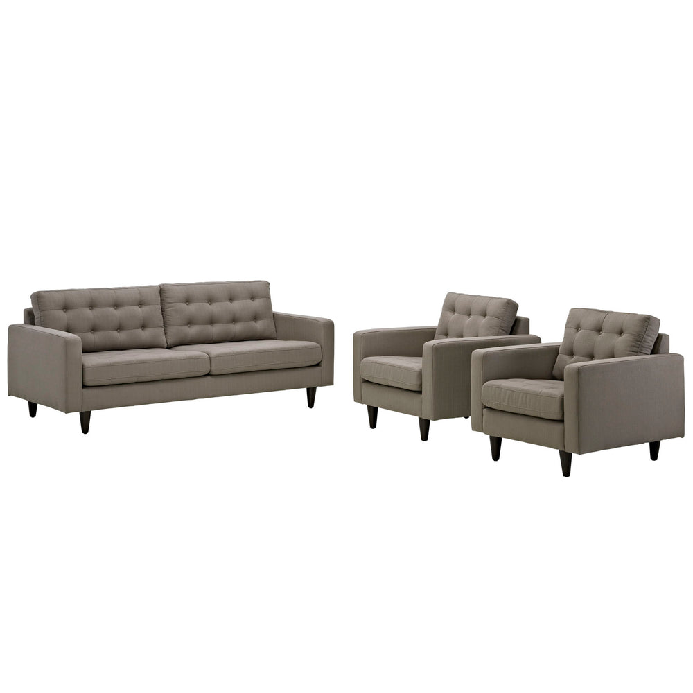 Empress Sofa and Armchairs Set of 3 in Granite by Modway