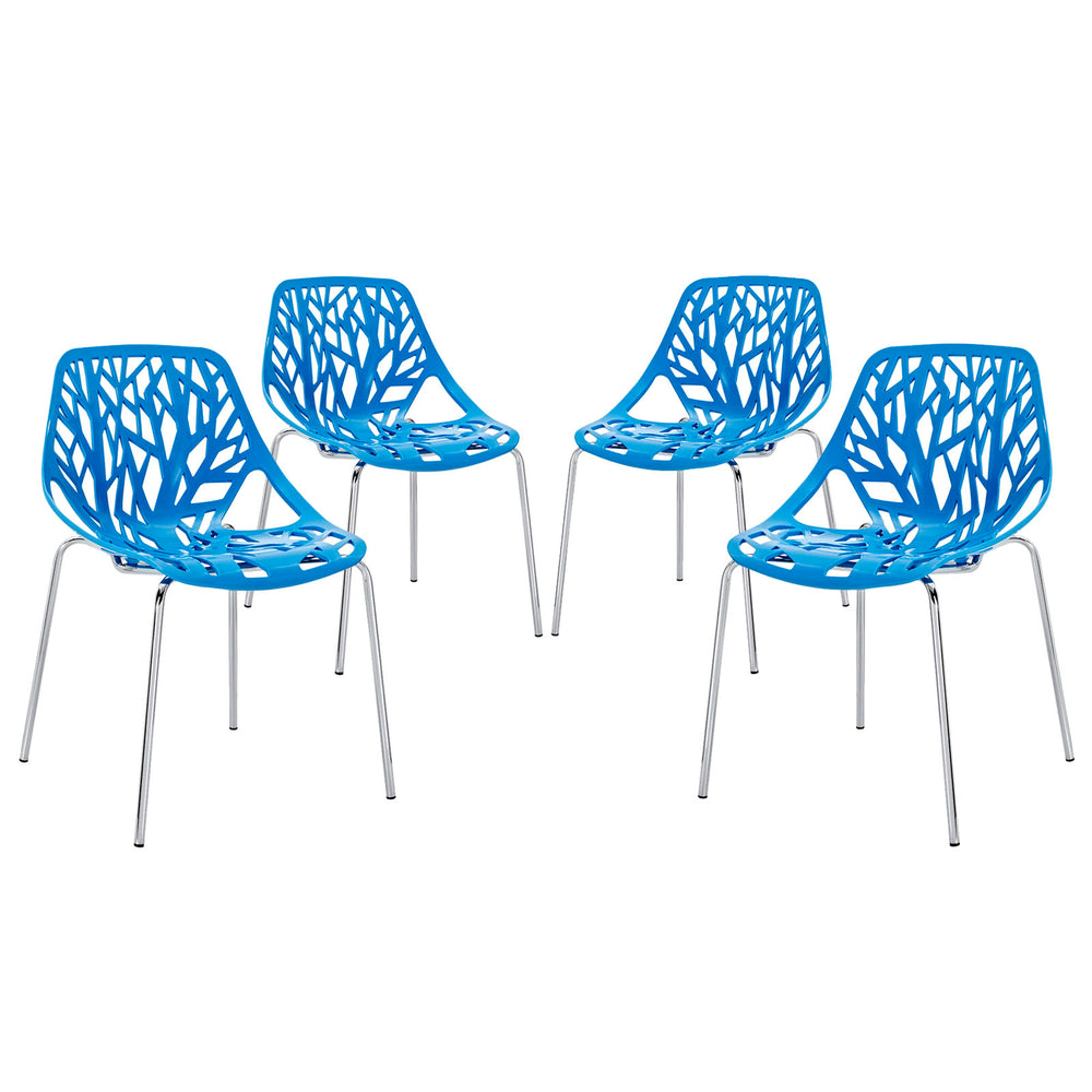Stencil Dining Side Chair Set of 4 in Blue by Modway