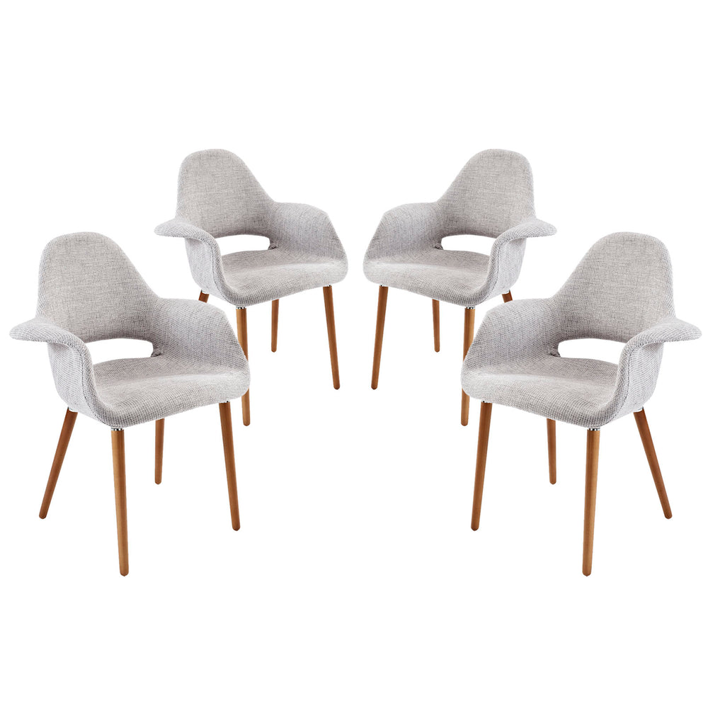 Aegis Dining Armchair Set of 4 in Light Gray by Modway