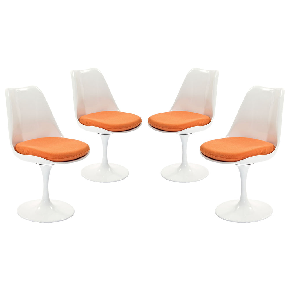 Lippa Dining Side Chair Fabric Set of 4 in Orange by Modway
