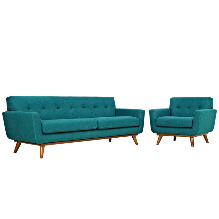 Engage Armchair and Sofa Set of 2 in Teal by Modway