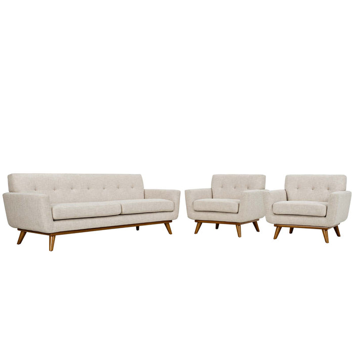 Engage Armchairs and Sofa Set of 3 in Beige by Modway