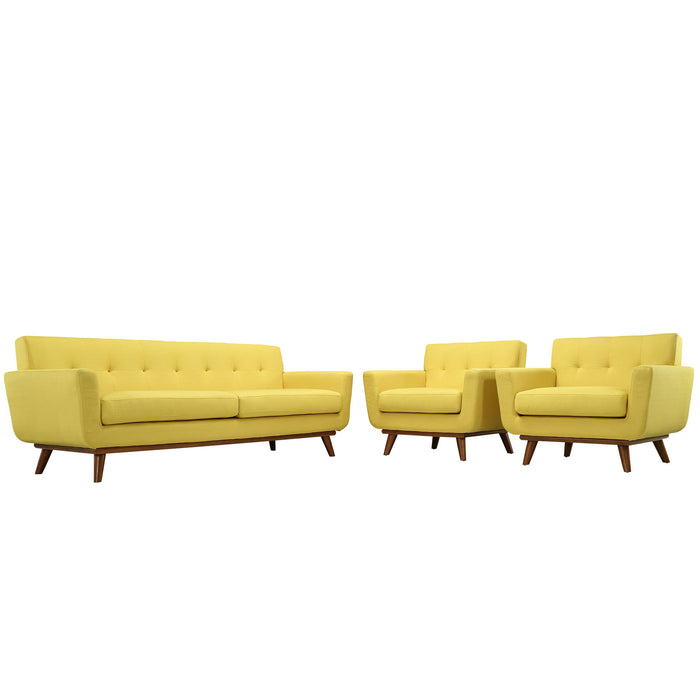 Engage Armchairs and Sofa Set of 3 in Sunny by Modway