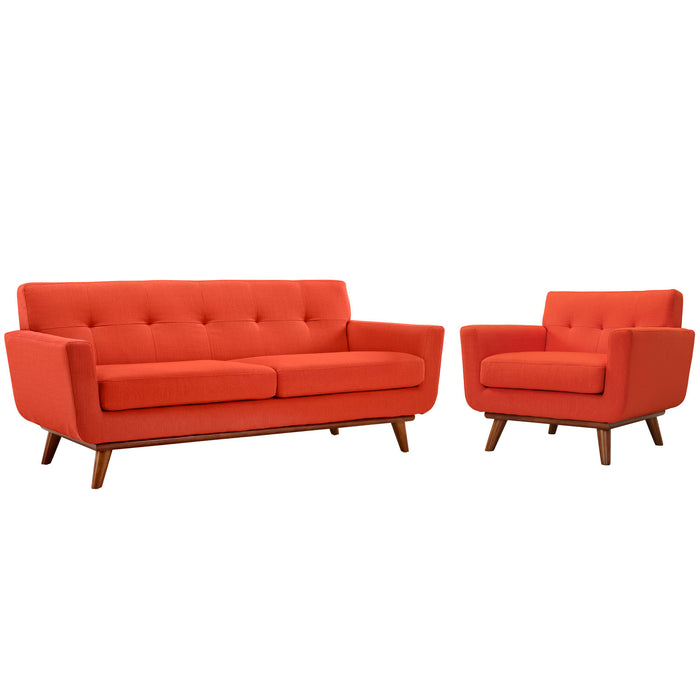 Engage Armchair and Loveseat Set of 2 in Atomic Red by Modway