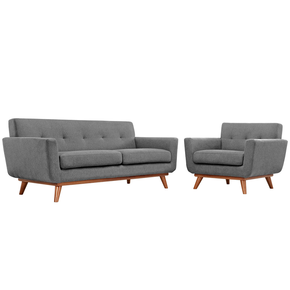 Engage Armchair and Loveseat Set of 2 in Expectation Gray by Modway