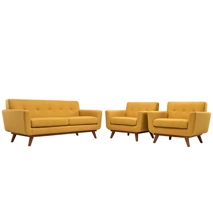 Engage Armchairs and Loveseat Set of 3 in Citrus by Modway