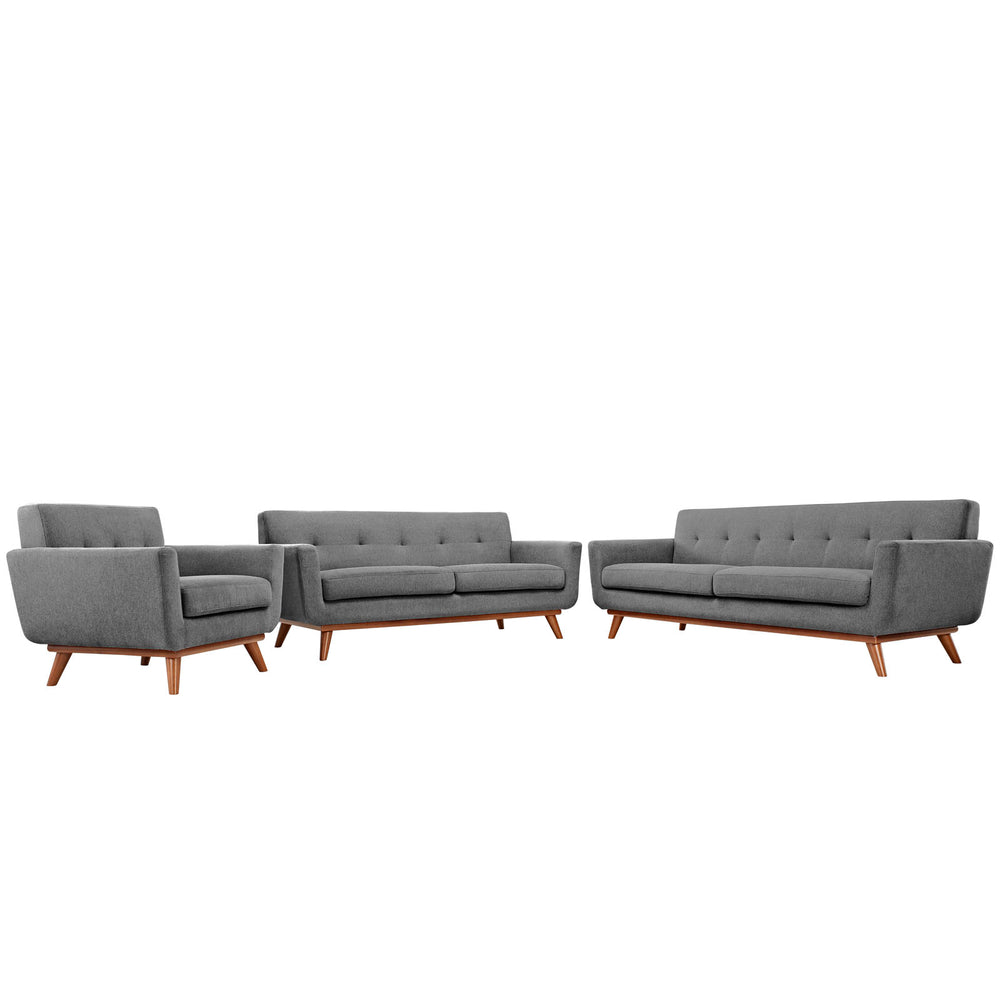 Engage Sofa Loveseat and Armchair Set of 3 in Expectation Gray by Modway