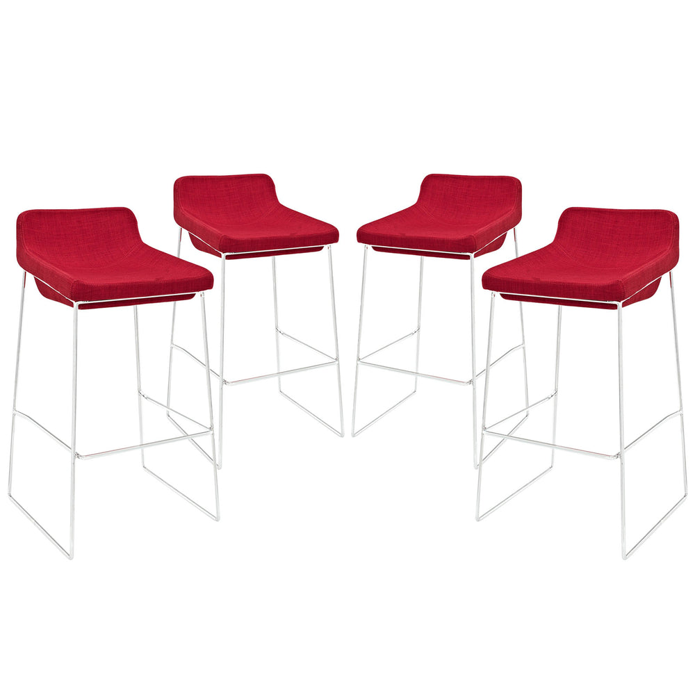Garner Bar Stool Set of 4 in Red by Modway