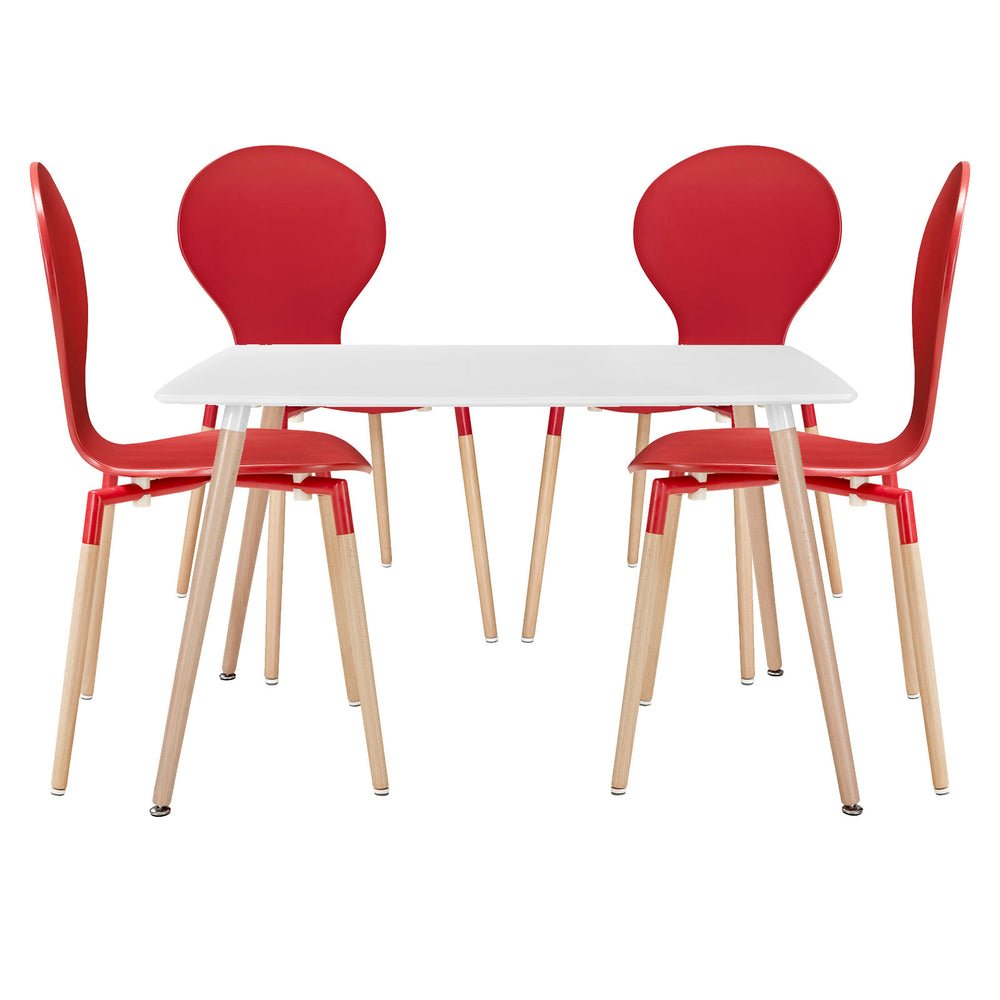 Path Dining Chairs and Table Set of 5 in Red by Modway