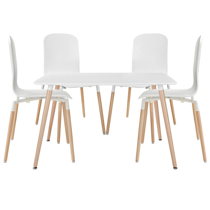 Stack Dining Chairs and Table Wood Set of 5 in White by Modway