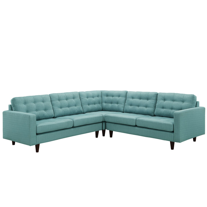 Empress 3 Piece Upholstered Fabric Sectional Sofa Set in Laguna by Modway