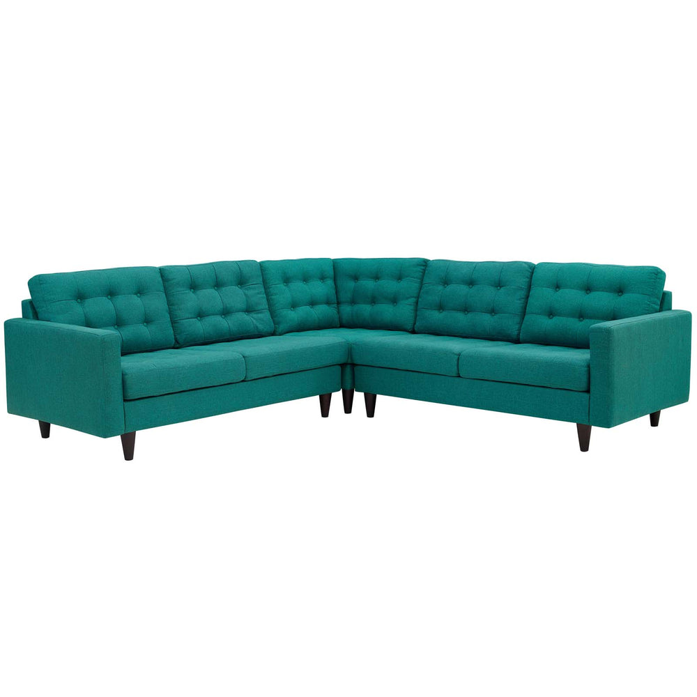 Empress 3 Piece Upholstered Fabric Sectional Sofa Set in Teal by Modway