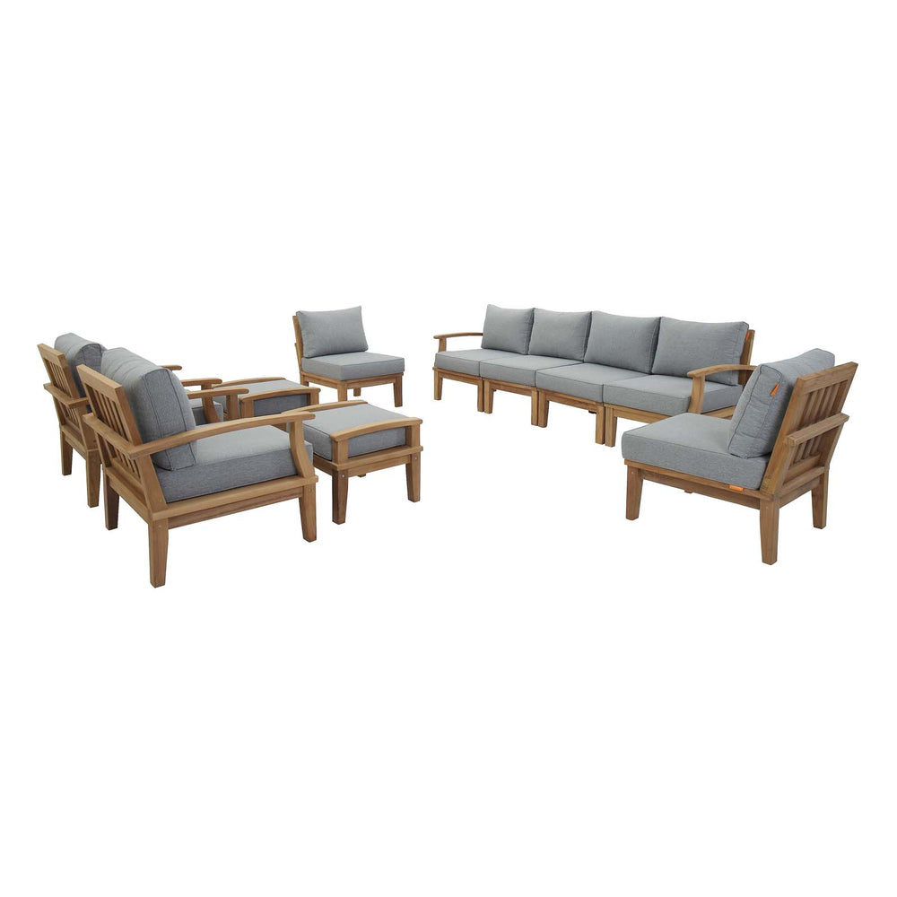 Marina 10 Piece Outdoor Patio Teak Set in Natural Gray by Modway