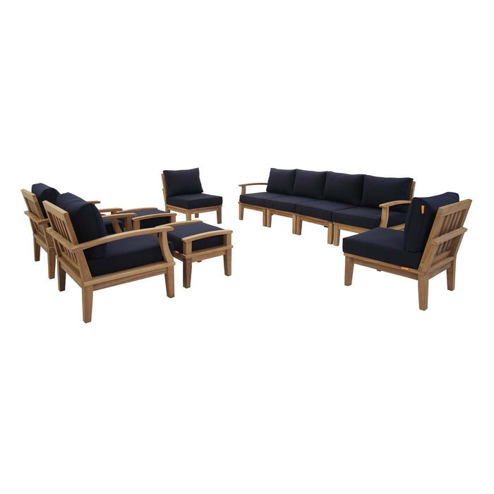 Marina 10 Piece Outdoor Patio Teak Set in Natural Navy by Modway