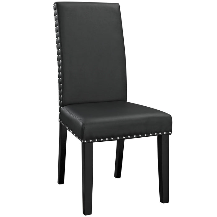 Parcel Dining Vinyl Side Chair in Black by Modway