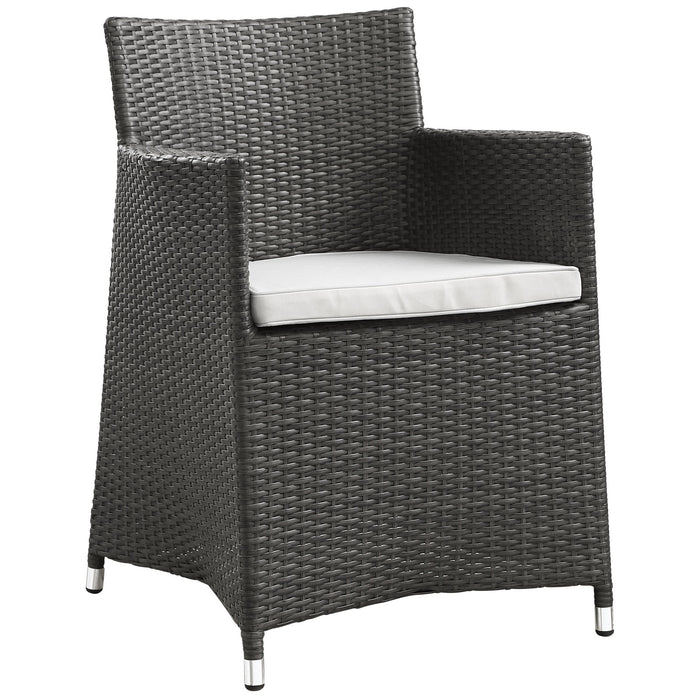 Junction Dining Outdoor Patio Armchair in Brown White by Modway