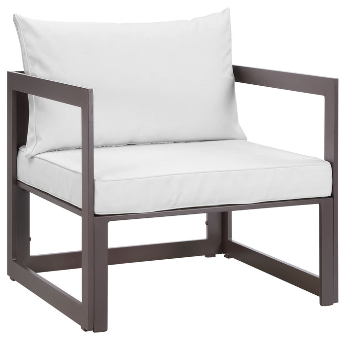 Fortuna Outdoor Patio Armchair in Brown White by Modway