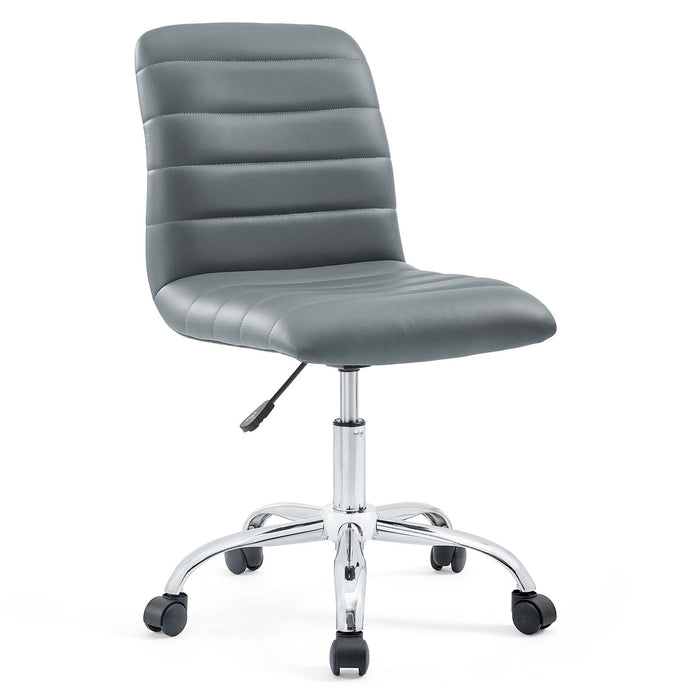 Ripple Armless Mid Back Vinyl Office Chair in Gray by Modway