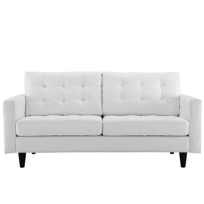 Empress Bonded Leather Loveseat in White by Modway