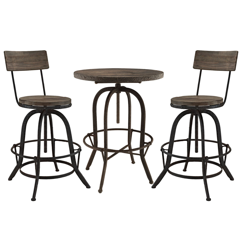 Gather 3 Piece Dining Set in Brown by Modway