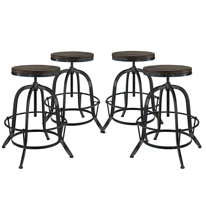Collect Bar Stool Set of 4 in Black by Modway