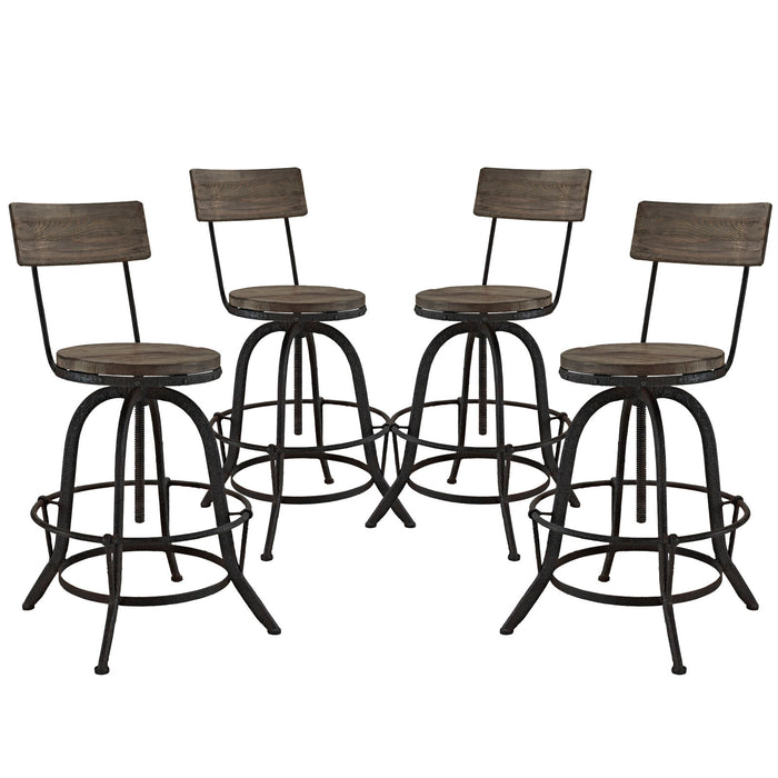 Procure Bar Stool Set of 4 in Brown by Modway