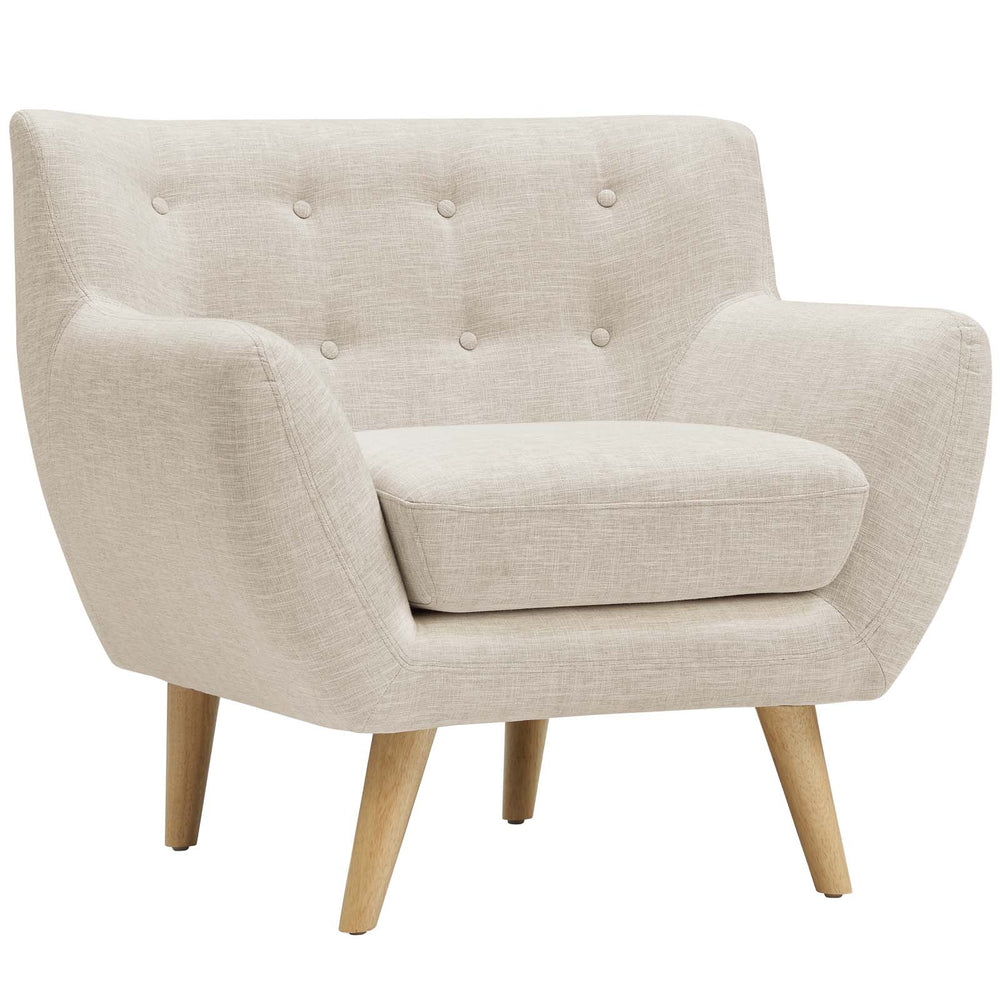 Remark Upholstered Fabric Armchair in Beige by Modway