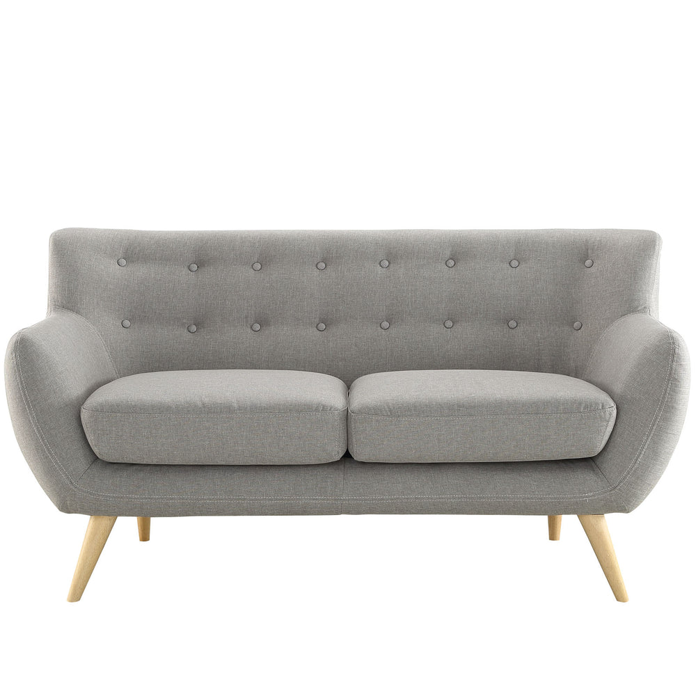 Remark Upholstered Fabric Loveseat in Light Gray by Modway