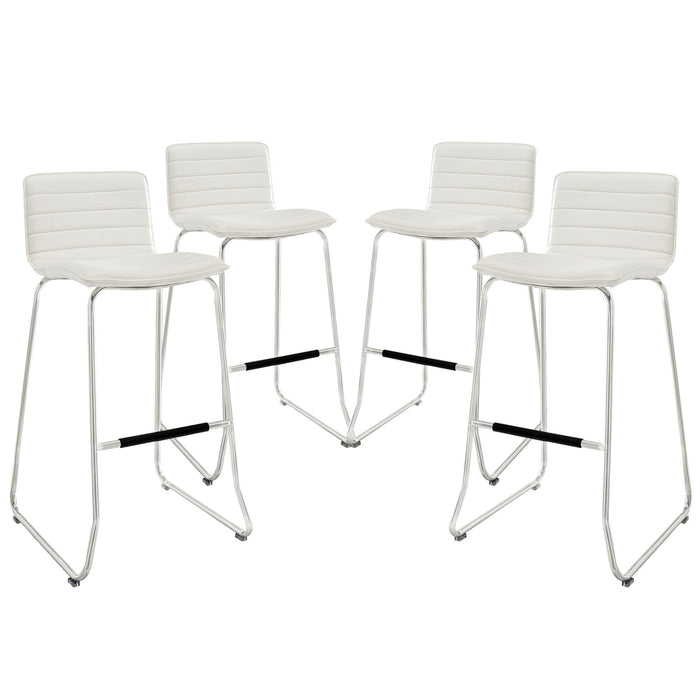 Dive Bar Stool Set of 4 in White by Modway