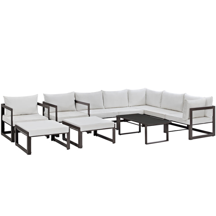 Fortuna 10 Piece Outdoor Patio Sectional Sofa Set in Brown White by Modway