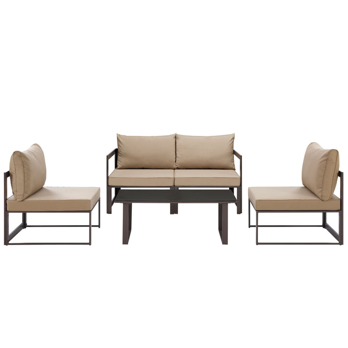 Modway Fortuna 5 Piece Outdoor Patio Sectional Sofa Set in Brown Mocha