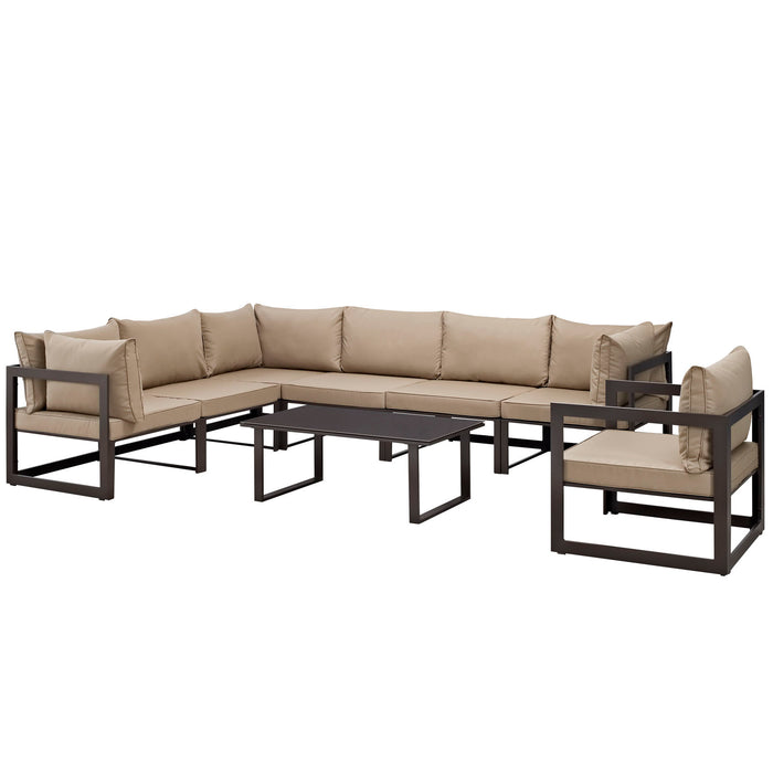 Fortuna 8 Piece Outdoor Patio Sectional Sofa Set in Brown Mocha by Modway