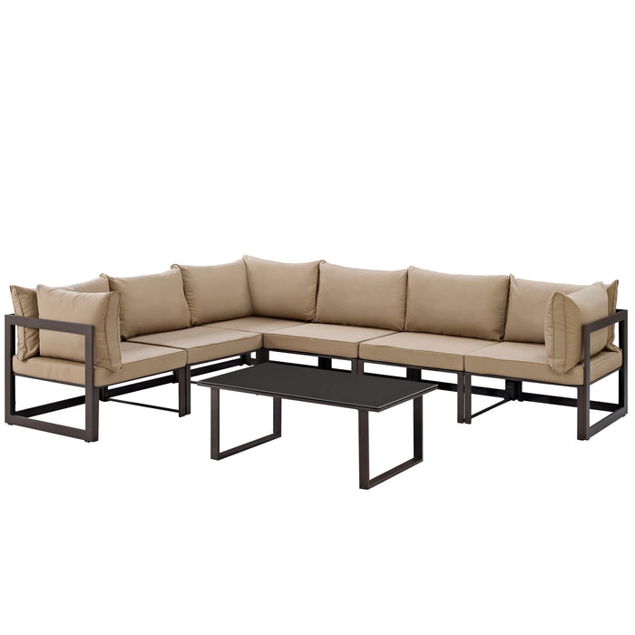 Fortuna 7 Piece Outdoor Patio Sectional Sofa Set in Brown Mocha by Modway