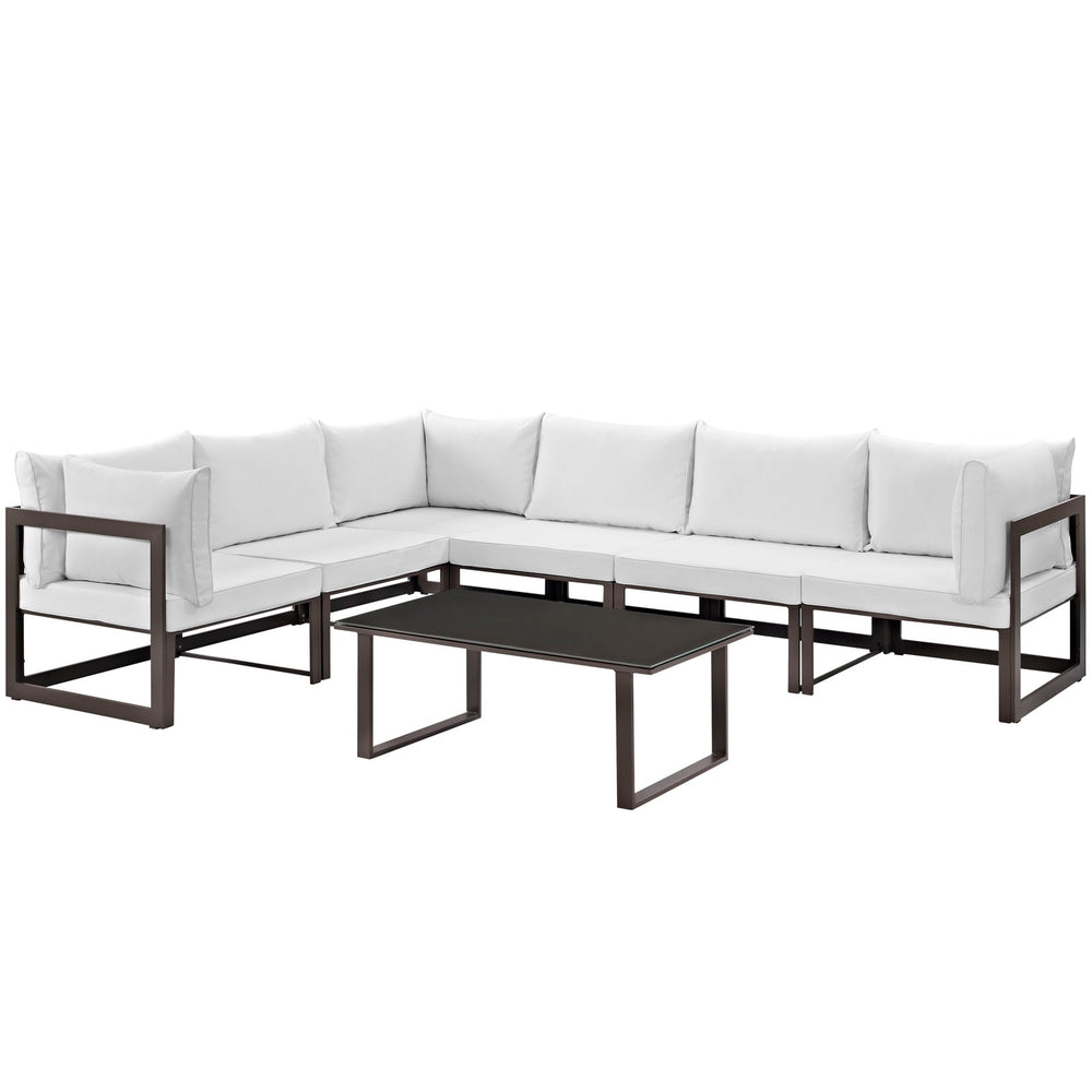 Fortuna 7 Piece Outdoor Patio Sectional Sofa Set in Brown White by Modway