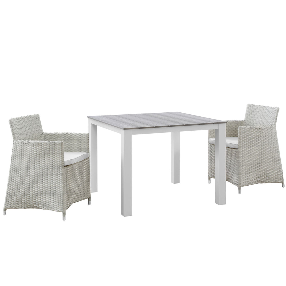 Junction 3 Piece Outdoor Patio Wicker Dining Set in Gray White by Modway