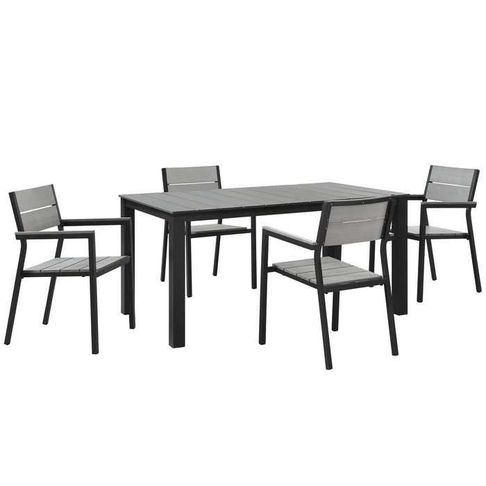 Maine 5 Piece Outdoor Patio Dining Set in Brown Gray by Modway